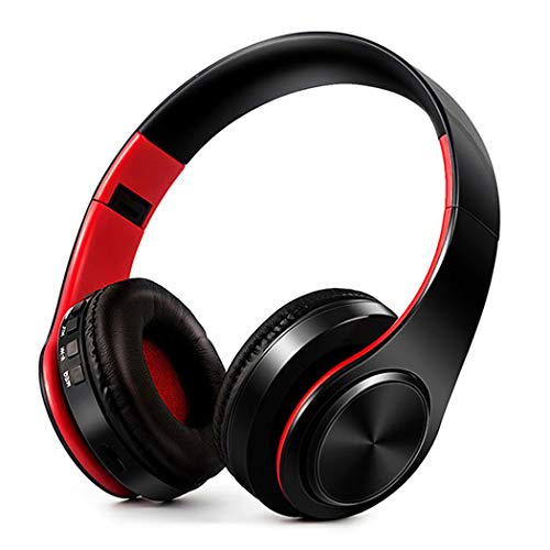 Onbio Bluetooth Headphones Over Ear, HiFi Stereo Wireless Headset, Foldable, Noise Cancelling Wireless Headphones (Red & Black)