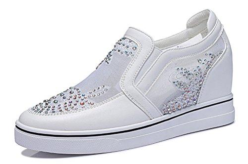 GUCIHEAVEN Womens Loafer Shoe Mesh Gauze Breathable Flat Elevator Shoe White