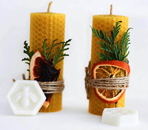 (Beeswax Gifts 100% Beeswax Candles Gift Box Set of 2 Scented Pillar Candles Size 4.3 x 1.5 in (11 x 4 cm) and 2 Vegan Soaps for Gift and Home Decor)