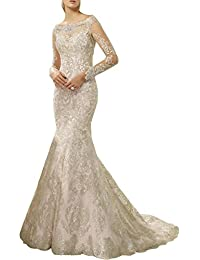 Newdeve Mermaid Wedding Dresses For Brides Long Sleeve Evening Gowns