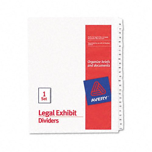 Avery : Allstate-Style Legal Side Tab Dividers, 25-Tab, 76-100, Letter, White, Set of 25 -:- Sold as 2 Packs of - 25 - / - Total of 50 Each by Avery
