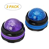 Massage Roller Ball, Sweethome 2 Pack Back Roller Massager Handheld Self Massage Balls Blue and Purple Full Body Relax Tools Pain Relief Oils Massage Roller Ball (blue and purple)