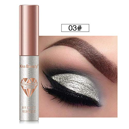 RNTOP 6 Colors Set Long-Lasting Makeup Eyeshadow Liquid Highlighter Liquid Cosmetic Glow Brightener Shimmer-Silver, White, Golden Color (C) -