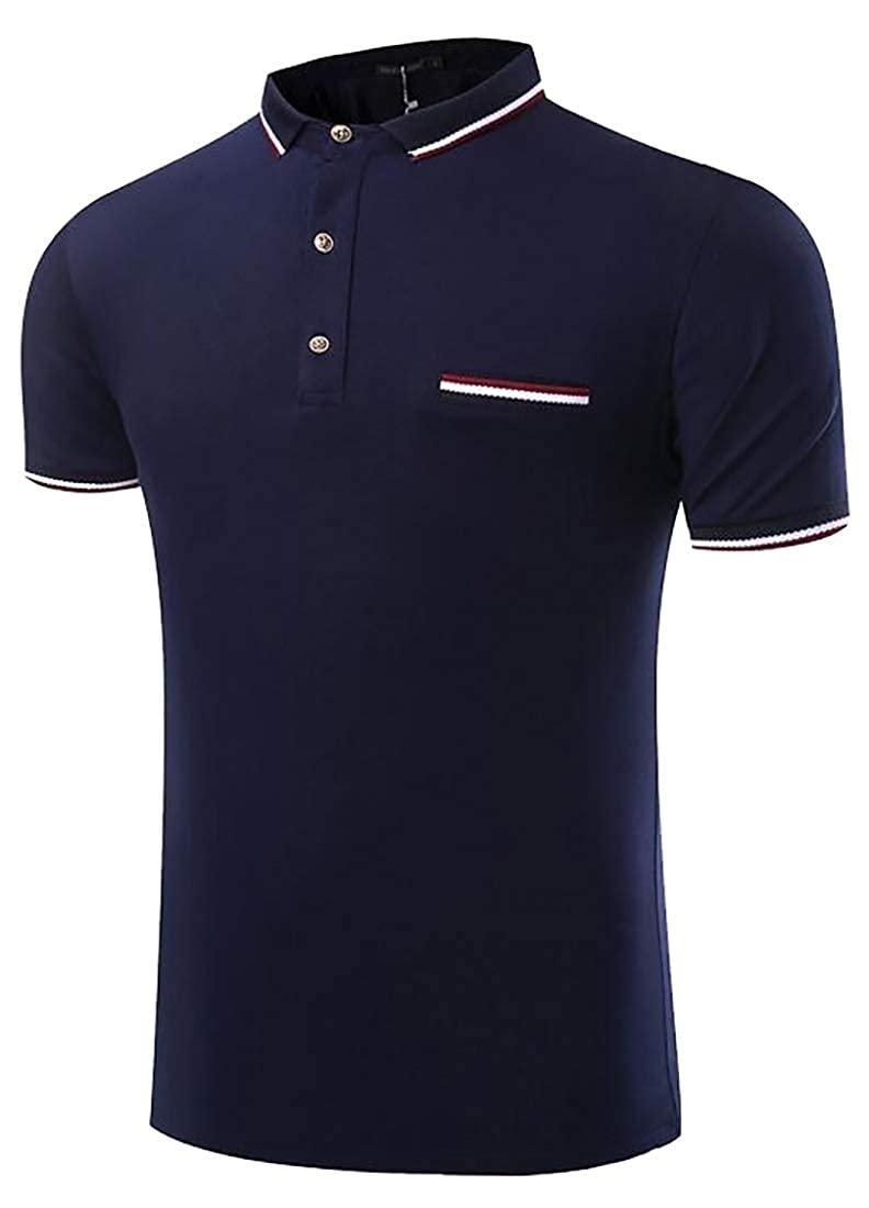 zhaoabao Mens T-Shirt Business Buttons Solid Color Casual Short Sleeve Polo Shirt