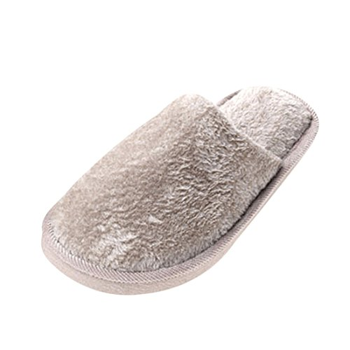Jiyaru Mens Womens Solid Fuzzy Round Toe Soft Indoor Winter Warm Slippers
