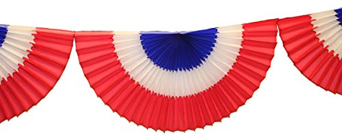 10 Foot Tissue Bunting Garland, Red White Blue