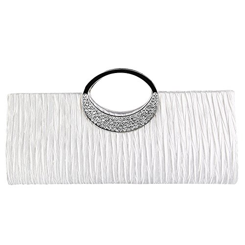 TOPCHANCES Women's Evening Party Rhinestone Satin Pleated Evening Wedding Party Clutch Purse Wallet Handbag ()
