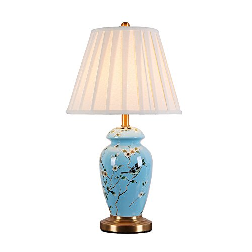 MILUCE Chinese ceramics table lamp living room bedroom high-end pure copper lamps ( Size : M ) by MILUCE Ceramics Lamp