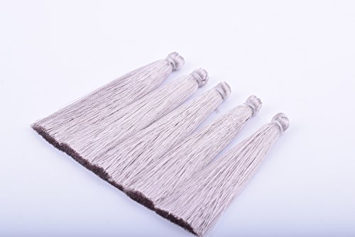KONMAY 20PCS 2.2''(5.5cm) Soft Handmade Silky Craft Fiber Tassels for DIY Projects (Light Grey) (Fiber Tassel Pack)
