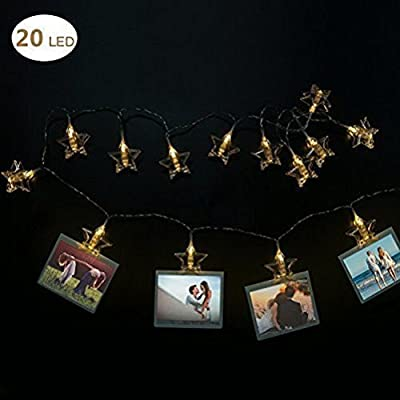 LED Photo Clip String Lights- 20 Photo Clip Battery Powered Fairy Twinkle Lights-Elegant Star LED Picture Lights Wedding Party Christmas Home Decor Lights for Hanging Photos, Cards and Artwork
