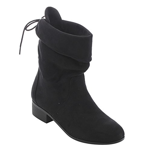 Soda FD67 Women's Foldable Cuff Mid Calf Block Heel Boots