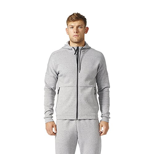 adidas Men's ID Stadium Full Zip Hoodie Medium Grey Heather Solid Grey Sweatshirt