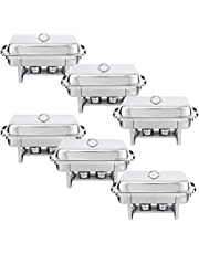 Rectangular Chafing Dish Full Size Chafer Dish Set 6 Pack of 8 Quart Stainless Steel Frame Chafers