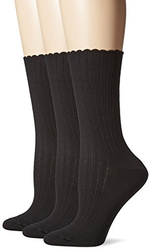 HUE Women's Scalloped Pointelle Sock(Pack of 3), Black