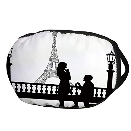 Fashion Cotton Antidust Face Mouth Mask,Engagement Party Decorations,Paris Lovers City Wedding Proposal for Great Future Image,Black and White,for women & -