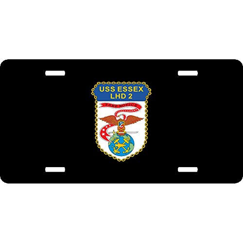 Navy Amphibious Assault Ship Lhd 2 USS Essex Customized US Navy License Plate Cover for Auto Cars, 4 Holes Aluminum Metal Car Tag Cover for US Vehicles, 12 x 6 Inch
