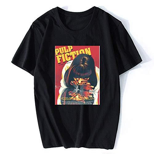 SATOSHI DUN-shirts Movie Mia Wallace Pulp Fiction T Shirt Fashion Summer Woman/Men Tees Shirt Short -