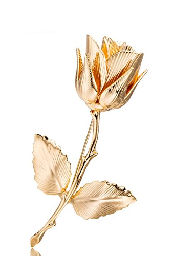 Top Cheer Vintage Style Rhinestone Rose Flower Brooch Pin Animal Broach Pins Jewelry (Gold)
