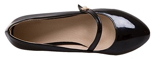 Odomolor Women's Pull-On Round Toe Low-Heels Patent Leather Solid Pumps-Shoes Black qtOdLt4iH