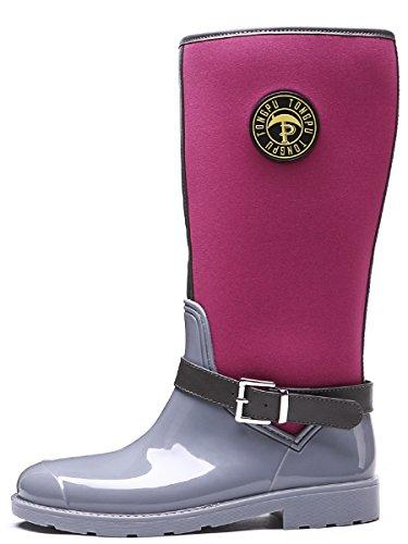TONGPU Women's Buckle Decoration Comfortable Waterproof Knee High Wellies Rain Boots Gray-Fuchsia MMPsYVHHu