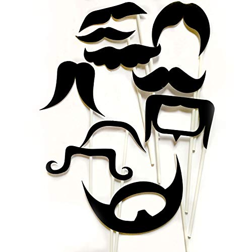 MUSTACHES Photo Booth Props - 10 pieces, Ready