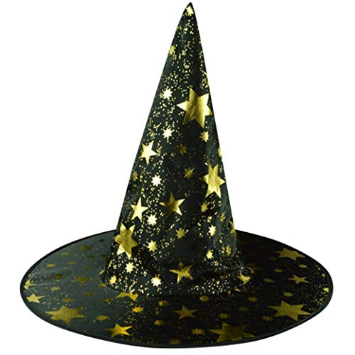 Yezijin Halloween Hats, Adult Womens Mens Witch Hat for Halloween Costume Accessory Stars Printed Cap (Black) -