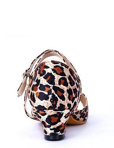 Latine ShangYi Bottier Satin de leopard Personnalisables Léopard Chaussures danse Non Talon waBzw1qx