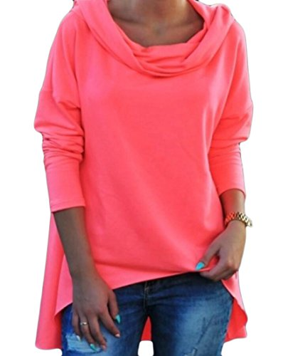 ainr Women's Piles Collar Casual Fit Long Sleeve Tunic Sweatshirts Pink XS