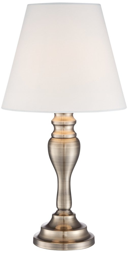 "Thom Traditional Desk Table Lamp 19 1/4"" High Brass Candlestick White Bell Shade Touch On Off for Bedroom Bedside Office - Regency Hill - 19 1/4"" high overall. Base is 5"" wide. Shade only is 5 1/2"" across the top, 9 1/2"" across the bottom, 8"" on the slant. Includes one 60 watt G9 halogen bulb. Maximum 60 watt bulb. Touch lamp with a traditional candlestick style base, from Regency Hill lighting. - lamps, bedroom-decor, bedroom - 41RHoJ4lXFL -"