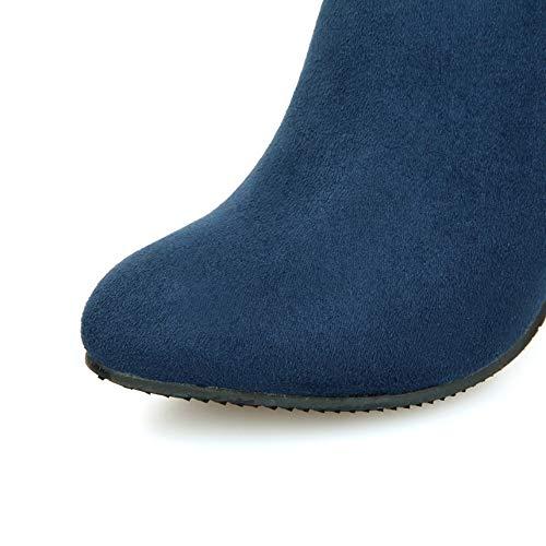 Femme Cheville Carrées Cristal Theshy Chaudes Bleu Talons De Épais Bottes Zippées Femmes Bottines Yx8EEwq5