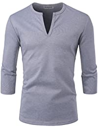 Men Casual Slit Neck 3/4 Sleeve Solid Color T Shirts