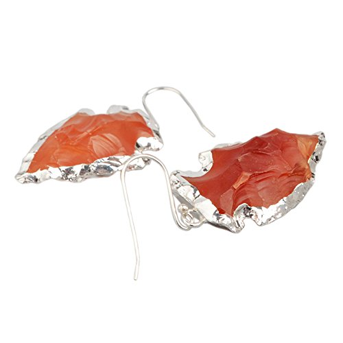 ZENGORI 925 Sterling Silver Plated Arrowhead Shape Raw Red Agate Earrings for Women