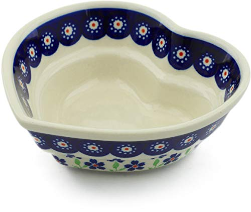 - Polish Pottery 6-inch Heart Shaped Bowl (Bright Peacock Daisy Theme) + Certificate of Authenticity