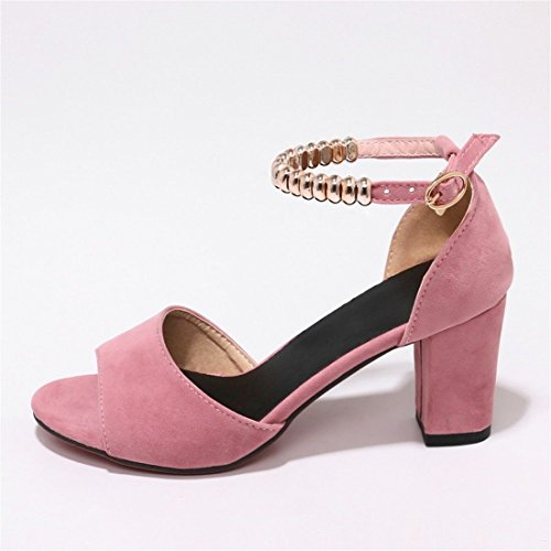 Pink Mujer Pulsera ranurado de Astilleros Grandes con Sandalias Biselado para Mujer Verano Sandalia Zapatos Mujer Sandals gw4tdqZ