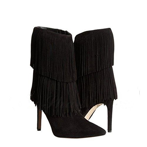 alti Moda sottile scamosciata nappa caviglia BROWN 41 donna breve a scarpe tacchi in 35 pelle stivali punta BLACK Ur0Uzq1w