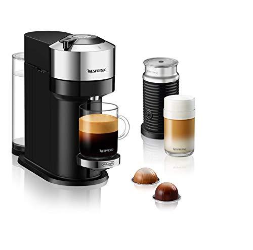 De'Longhi Nespresso Vertuo Next ENV 120.CAE – Cafetera de cápsulas con espumador de leche Aeroccino, color cromado