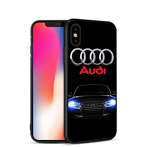 Minason for iPhone 5 5s SE 6 s 6s 6/7/8 Plus X Audi Case Luxury Car Audi A4 A6 Logo Scrub Silicone Phone Case for iPhone 7 case (SJK1045004HB - for 6Plus 6Splus) ()