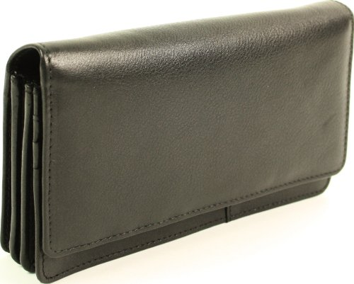 Soft Inside Purse Black 1642 Over Nappa 17 Slots Card Sections Zip Flap Large Credit with Leather 1043 Note pxqwdTq8