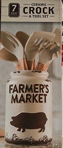 Farmer's Market Ceramic Crock & Tool Utensil. Set, 7 (Farmer Pig)
