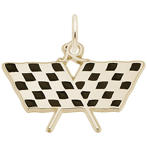 10k Yellow Gold Racing Flag Charm, Charms for Bracelets and Necklaces ()