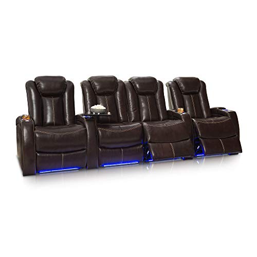 Seatcraft Delta Home Theater Seating Leather Power Recline, Powered Headrests, and Built-in SoundShaker Row of 4 Center Loveseat, Brown