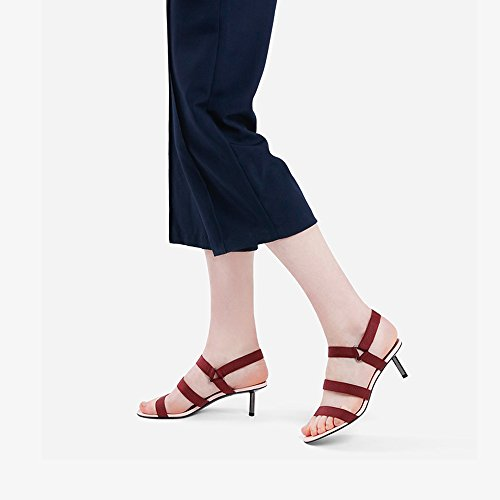 Des taille Couleur 5 Femme Talon Moyen 5 Talons YQQ Fille Confortable Mme Hauts Mode Sandales Été EU35 Noir Dame Sexy Printemps CM Rouge Uk3 Chaussures De fqxwC0B