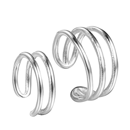 Qiandi 925 Sterling Silver Double Bands Cuff Clip-on Earrings No Piercing Women Girls Christmas (Double Cuff)