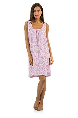 Casual Nights Women's Cotton Sleeveless Nightgown Chemise - Pink - Large (Sleeveless Muumuu)