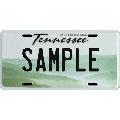 "Your Name Your State Custom Metal License Plate - Choose from All 50 States (Tennessee, 6"" x 12"" Standard Thickness (.030""))"