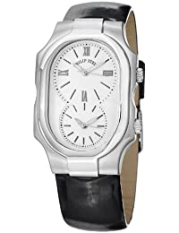 Philip Stein Signature Large Shiny Black Leather Strap Dual Time Watch 2-NCW-LB