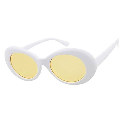 5e1a90f6a2 Beautyfine Sunglasses Retro Vintage Clout Goggles Unisex Rapper Oval Shades  Grunge Glasses at Amazon Women s Clothing store