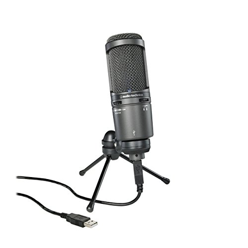 Audio-Technica AT2020USB Plus Cardioid Condenser USB Microphone, Black (Renewed)