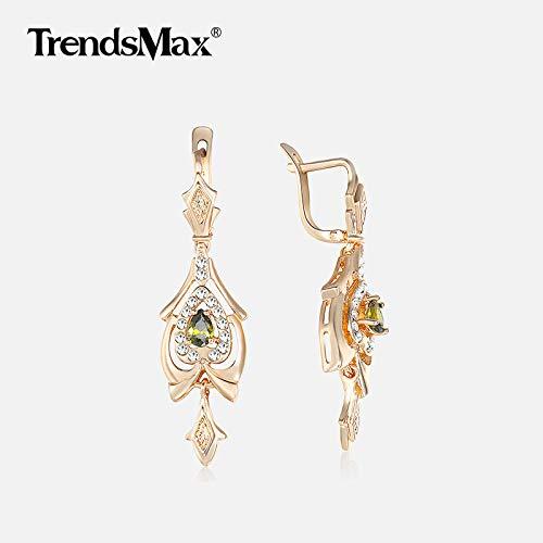 Olivine Green Chandelier Dangling Earrings & Rose Gold Women's Drop Earring As Valentines Gifts for Women
