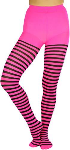 ToBeInStyle Women's Nylon Horizontal Striped Tights (One Size, Black/Neon Pink)